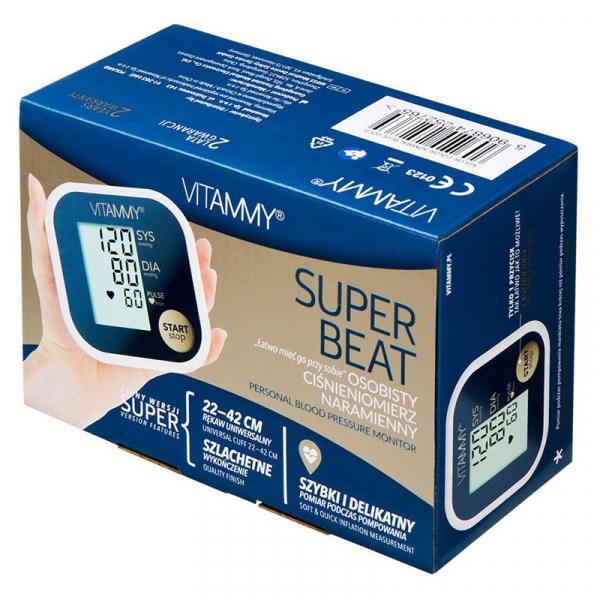 Tensiometru electronic de brat VITAMMY Super Beat, manseta 22-42 cm, Albastru/Auriu 4
