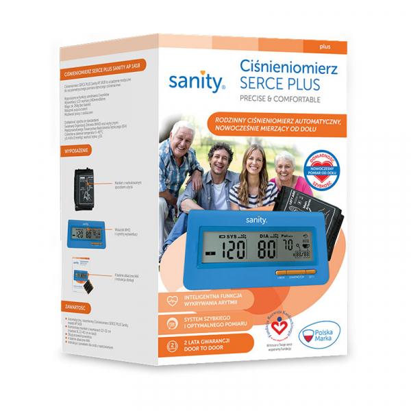 Tensiometru electronic de brat Sanity Serce Plus, 60 seturi de memorie, tehnologie FDS, Albastru [2]