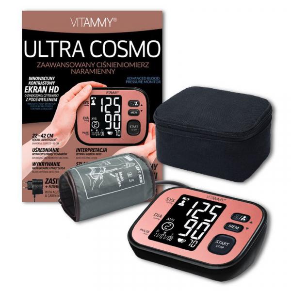 Tensiometru electronic de brat VITAMMY Ultra Cosmo, manseta 22-42 cm, Negru/Roz [3]