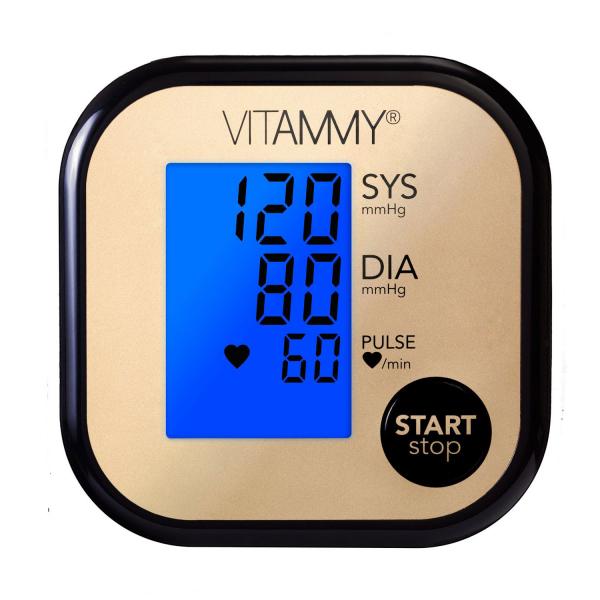 Tensiometru electronic de brat VITAMMY Ultra Beat, manseta 22-42 cm, Negru/Auriu 2