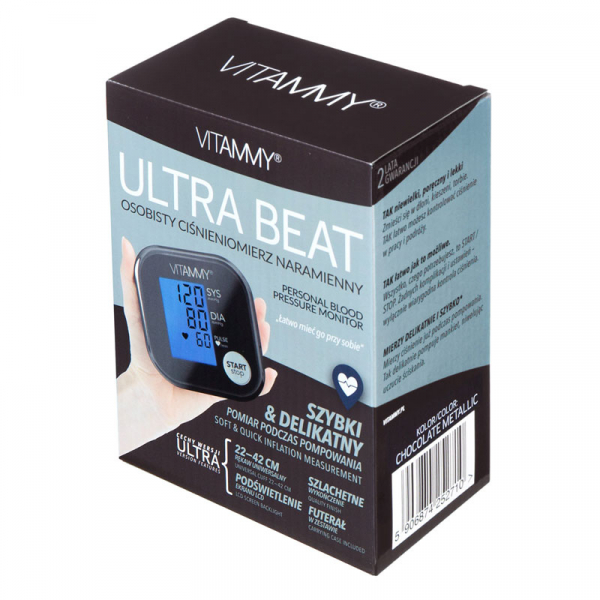 Tensiometru electronic de brat VITAMMY Ultra Beat, manseta 22-42 cm, Chocolate/Metalic 3