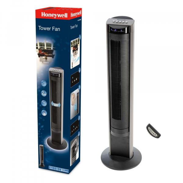 Ventilator turn Honeywell HO-5500RE, panou de control cu telecomanda in carcasa, 103,6 cm, 3 programe, Negru 0