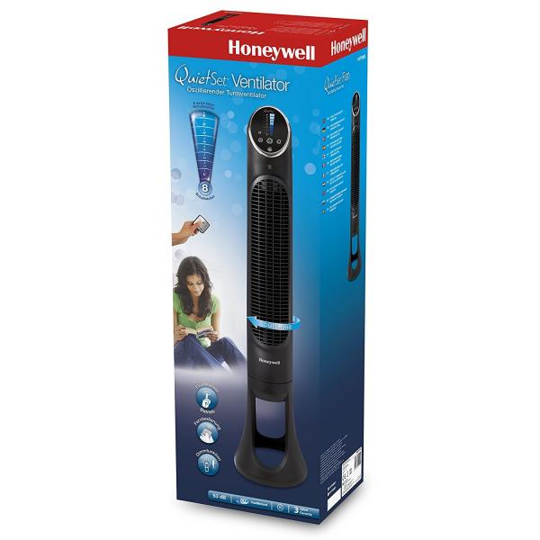 Ventilator turn Honeywell HYF290E QuietSet, 8 viteze, timer, 101 cm, zgomot redus, Negru 2
