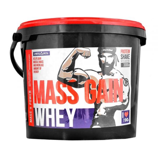 Supliment gainer de proteine Megabol Whey Mass Gain 3000 g, proteine din zer si din germeni de grau, vitamine si acid glutamic 0