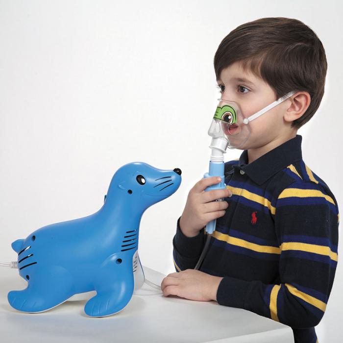 Aparat aerosoli cu compresor Philips Respironics Sami the Seal, MMAD 2.80μm, Design preferat de copii, Sistem Active Venturi, Profesional 6