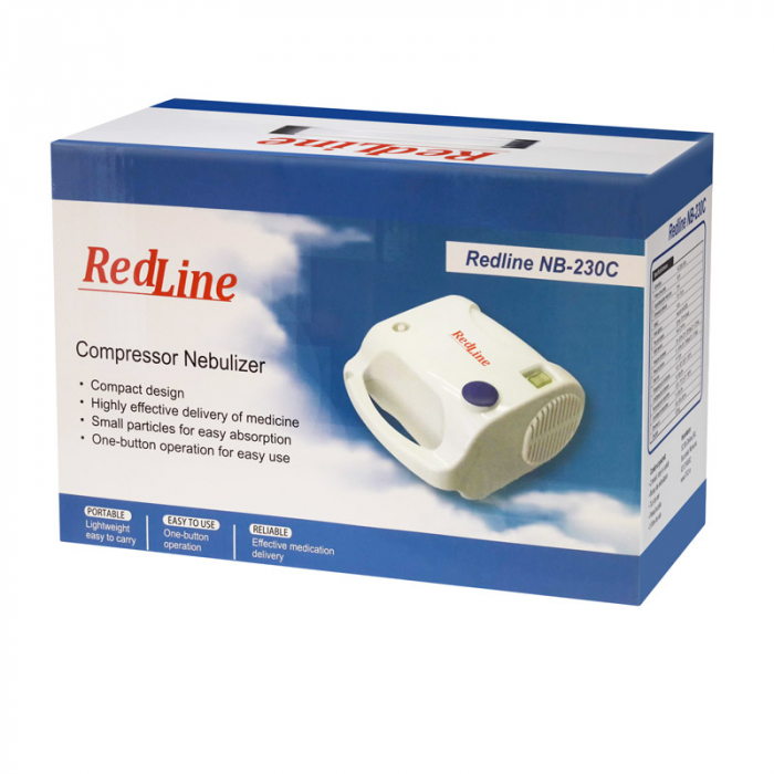 Aparat aerosoli RedLine NB-230C PRO, masca copii si adulti, kit PRO cu furtun de 6m si masca bebelusi, nebulizator cu compresor 5