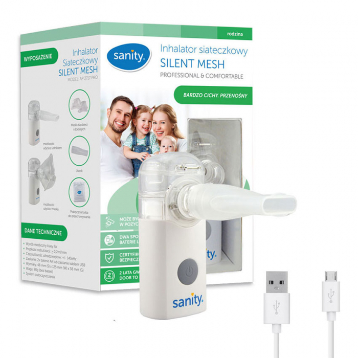 Aparat aerosoli cu tehnologie mesh Sanity Silent Mesh AP 2717 PRO, dimensiuni reduse, cablu USB [0]
