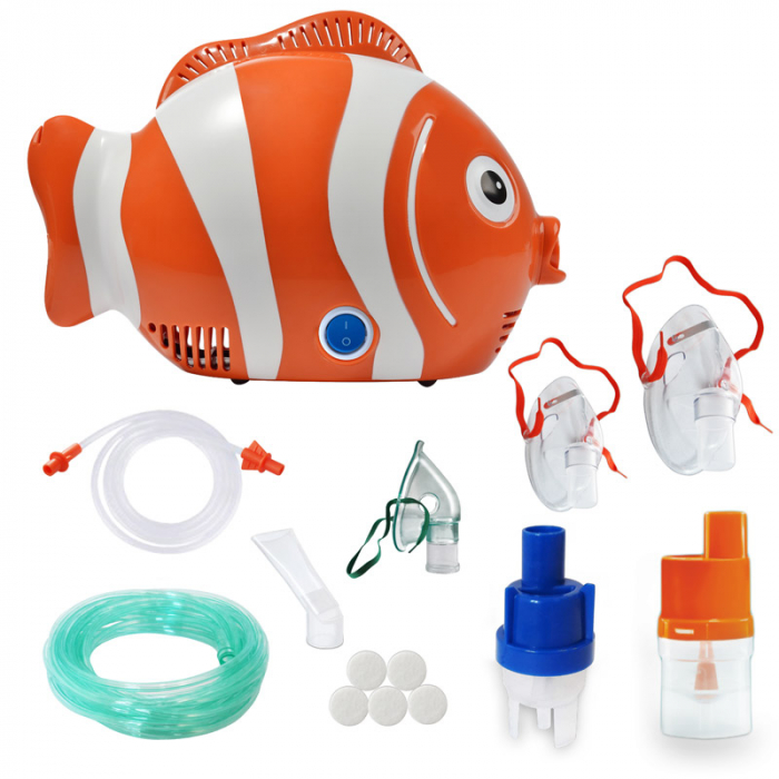 Aparat de aerosoli RedLine Healthy Fish Pro, MMAD 2.44 si 4 µm, forma jucausa apreciata de copii, furtun de 6m, 2 kit-uri de nebulizare 0