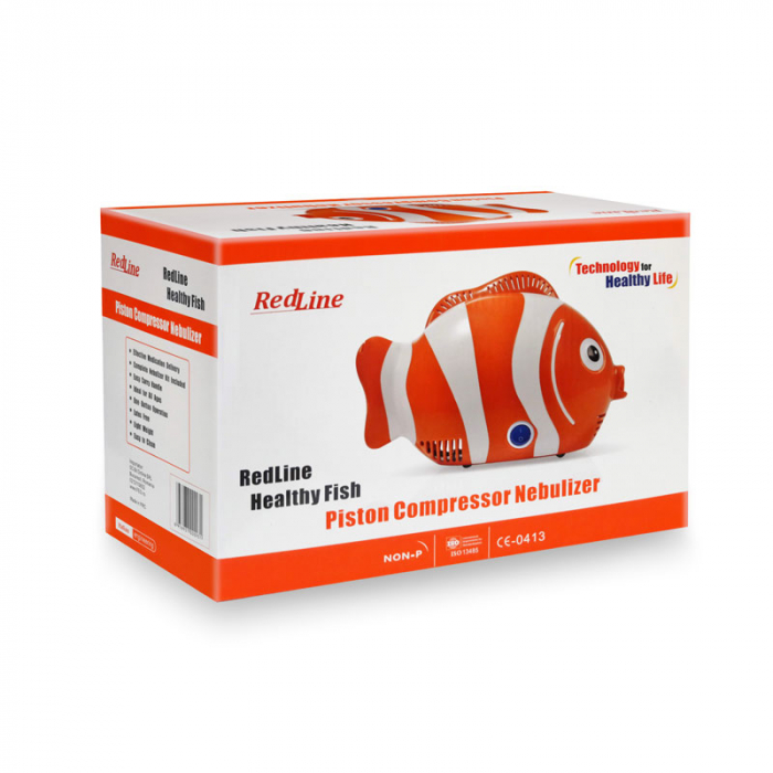 Aparat de aerosoli RedLine Healthy Fish Pro, MMAD 2.44 si 4 µm, forma jucausa apreciata de copii, furtun de 6m, 2 kit-uri de nebulizare 3