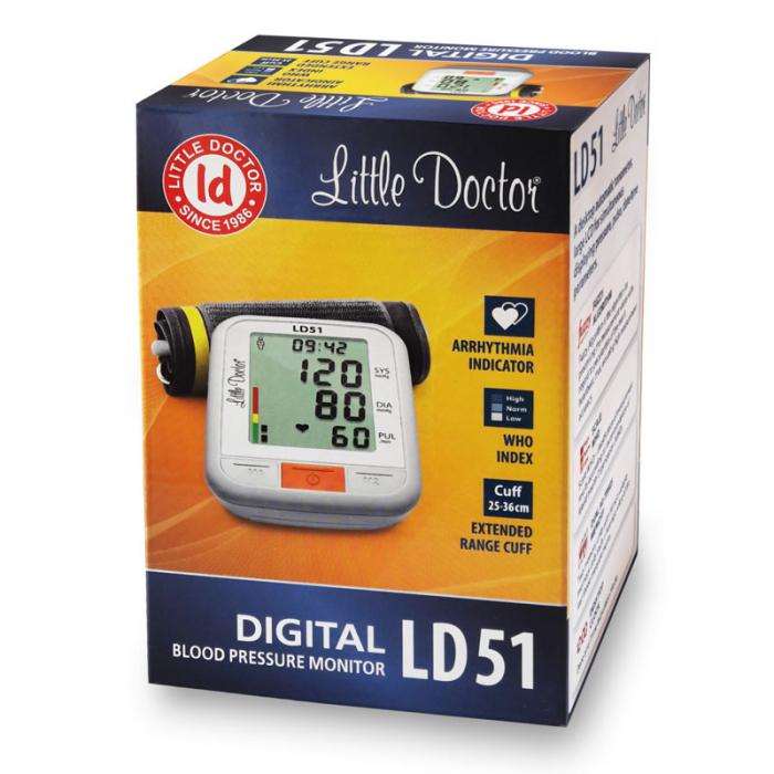 Pachet tensiometru electronic de brat Little Doctor LD 51 cu adaptor priza 3