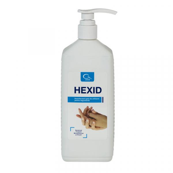 Dezinfectant antiseptic igienic si chirurgical pentru maini si tegumente HEXID 1L cu aviz MS 0