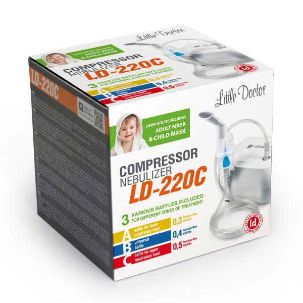 Aparat aerosoli cu compresor Little Doctor LD-220C, 3 dispensere pentru reglarea dimensiunii particulelor, 2 masti 2