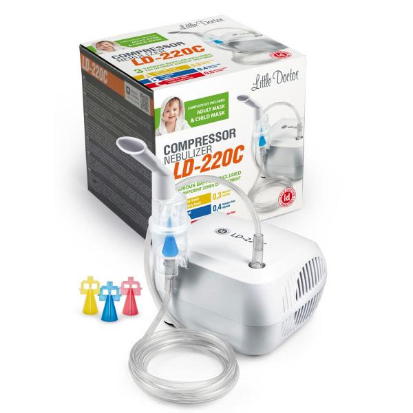 Aparat aerosoli cu compresor Little Doctor LD-220C PRO, 3 dispensere, 3 masti, furtun 6 m [3]