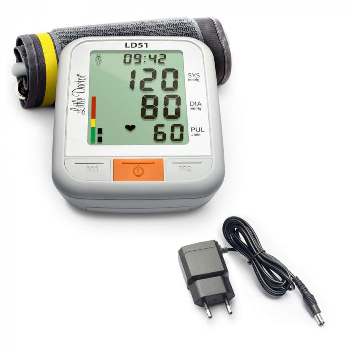 Pachet tensiometru electronic de brat Little Doctor LD 51 cu adaptor priza 0