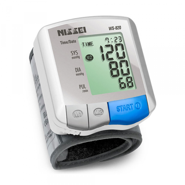 Tensiometru electronic de incheietura Nissei WS-820, afisaj LCD,  memorare 2 x 30 de valori, alb/gri 0