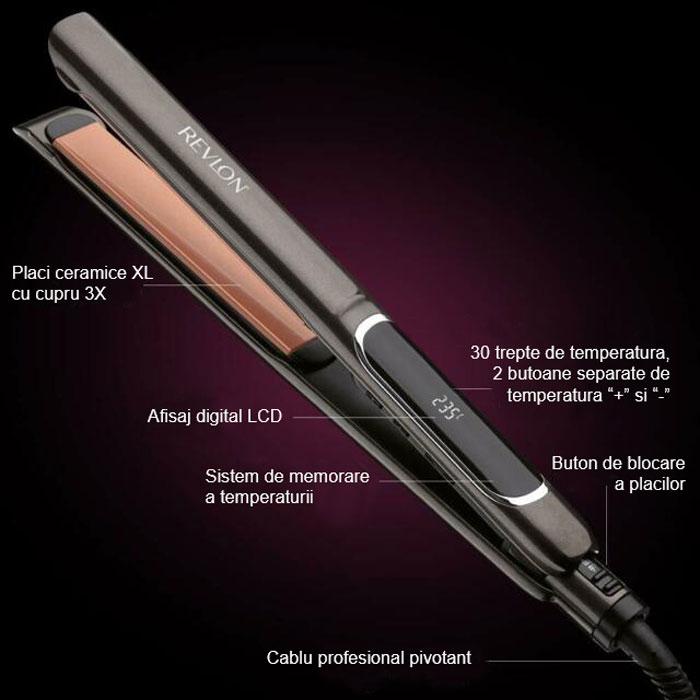 Placa de indreptat parul REVLON Salon Straight Copper Smooth RVST2175E, afisaj LCD [4]