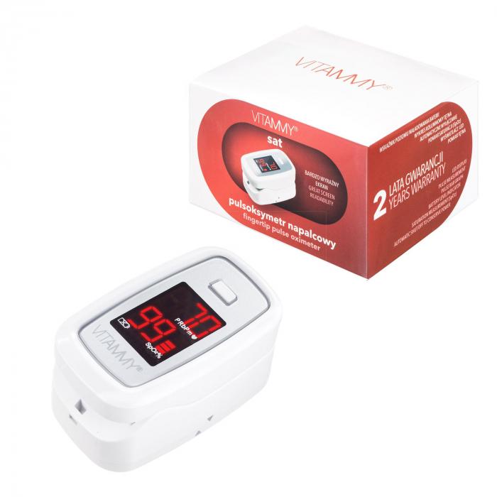 Pulsoximetru Vitammy Sat, ecran luminos, rezistent, indica nivelul de saturatie a oxigenului, masoara ritmul cardiac [1]