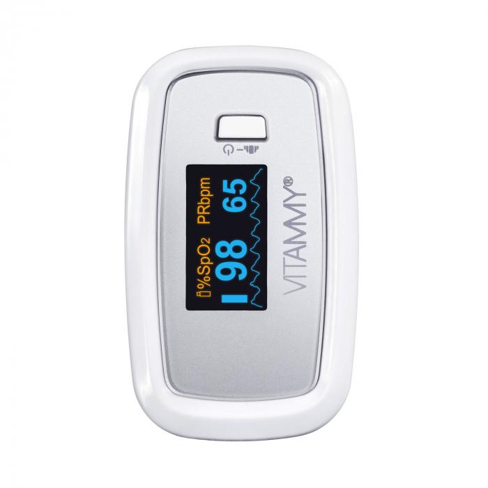 Pulsoximetru Vitammy Sat Plus, rezistent, rotire automata a ecranului, indica nivelul de saturatie a oxigenului, masoara rata pulsului [1]