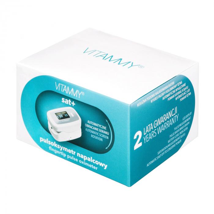 Pulsoximetru Vitammy Sat Plus, rezistent, rotire automata a ecranului, indica nivelul de saturatie a oxigenului, masoara rata pulsului [2]