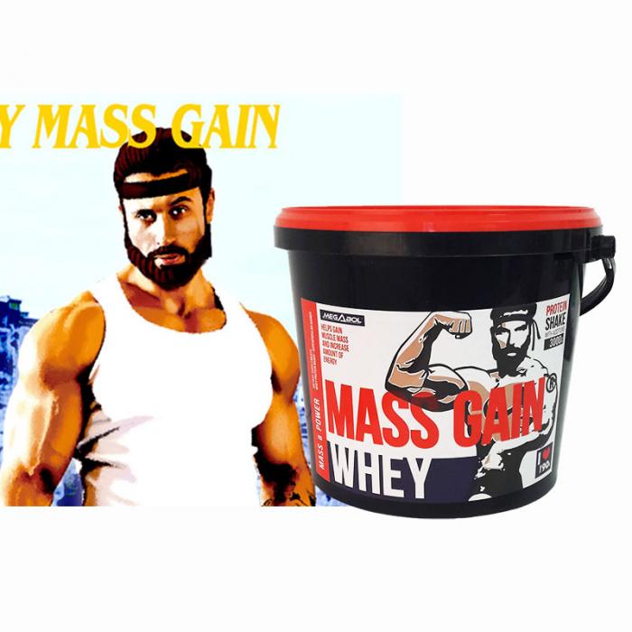 Supliment gainer de proteine Megabol Whey Mass Gain 3000 g, proteine din zer si din germeni de grau, vitamine si acid glutamic [4]
