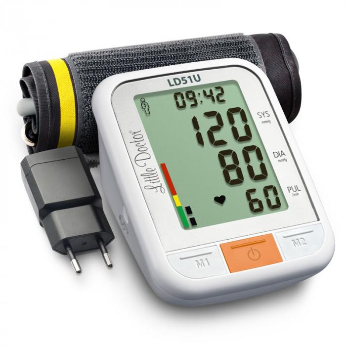 Tensiometru electronic de brat Little Doctor LD 51U, manseta 22 - 42 cm, indicator WHO, adaptor priza inclus, Alb/Gri 3