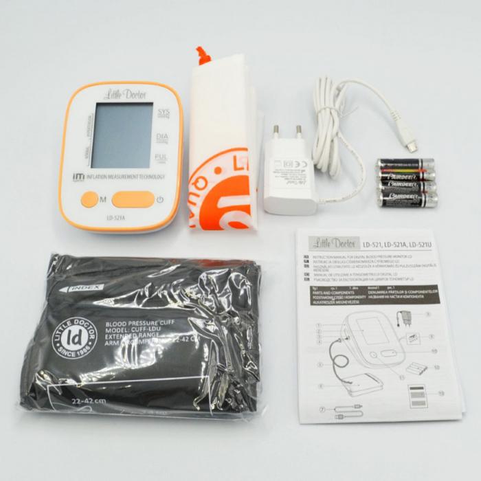 Tensiometru electronic de brat Little Doctor LD-521A,  adaptor inclus, Algoritm IMS, memorare 90 de valori, manseta 22 - 42 cm [4]