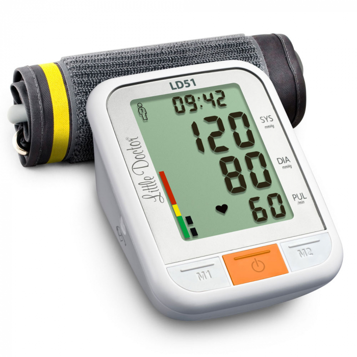 Tensiometru electronic de brat Little Doctor LD51, afisaj XXL, detector aritmie, indicator WHO, afisare data si timp, Alb/Gri 3