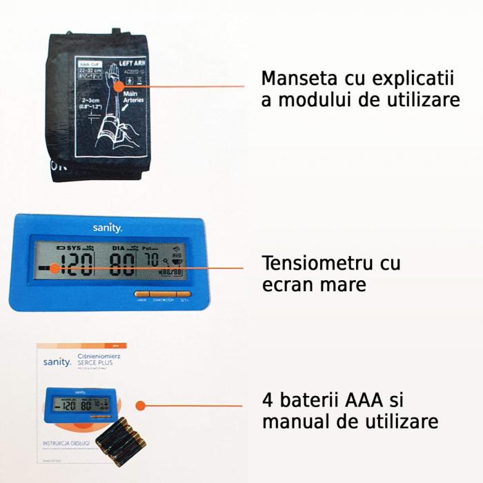 Tensiometru electronic de brat Sanity Serce Plus, 60 seturi de memorie, tehnologie FDS, Albastru [4]