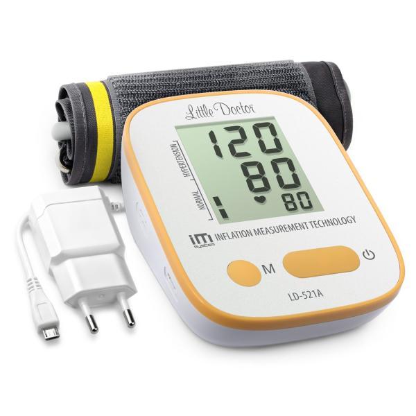 Tensiometru electronic de brat Little Doctor LD-521A,  adaptor inclus, Algoritm IMS, memorare 90 de valori, manseta 22 - 42 cm 0