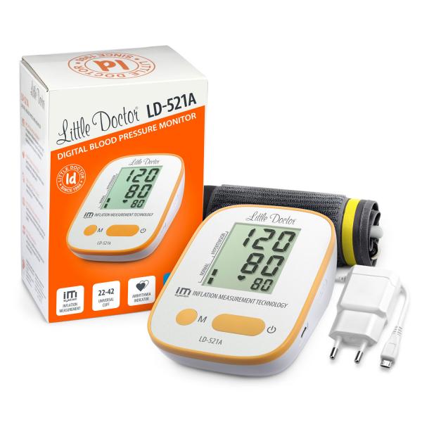 Tensiometru electronic de brat Little Doctor LD-521A,  adaptor inclus, Algoritm IMS, memorare 90 de valori, manseta 22 - 42 cm 2