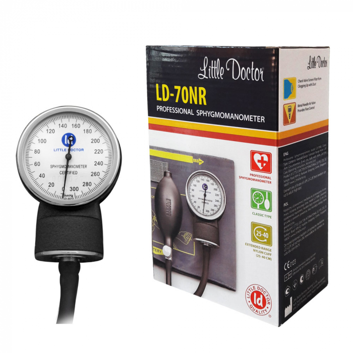 Tensiometru mecanic Little Doctor LD 70NR, profesional, manseta LARGE 25 - 40 cm, fara stetoscop, manometru din metal [4]