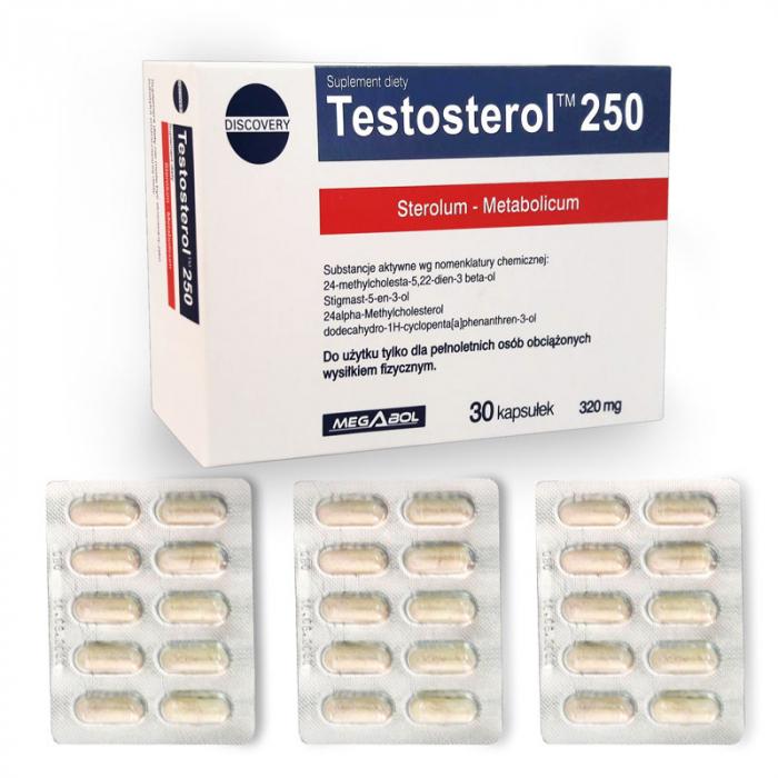 Pachet Megabol Biosterol 750 mg, 30 cps plus Testosterol 250, 30 cps, stimulare testosteron si hormon de crestere, inhibare estrogen [4]
