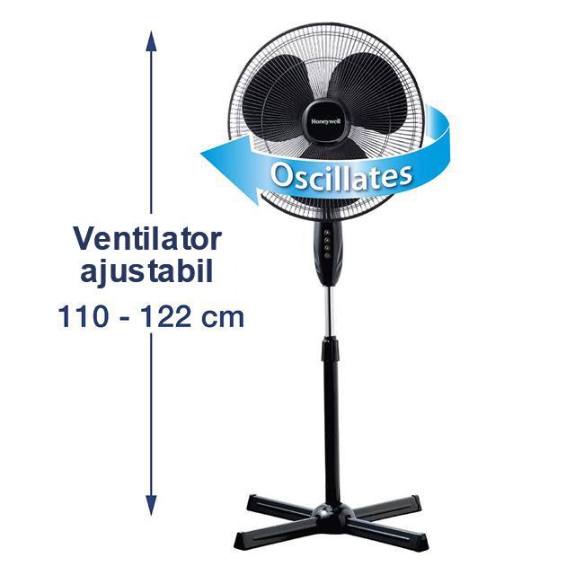 Ventilator cu picior Honeywell HSF1630E, 3 viteze, inaltime reglabila 110 - 122 cm, Negru 3