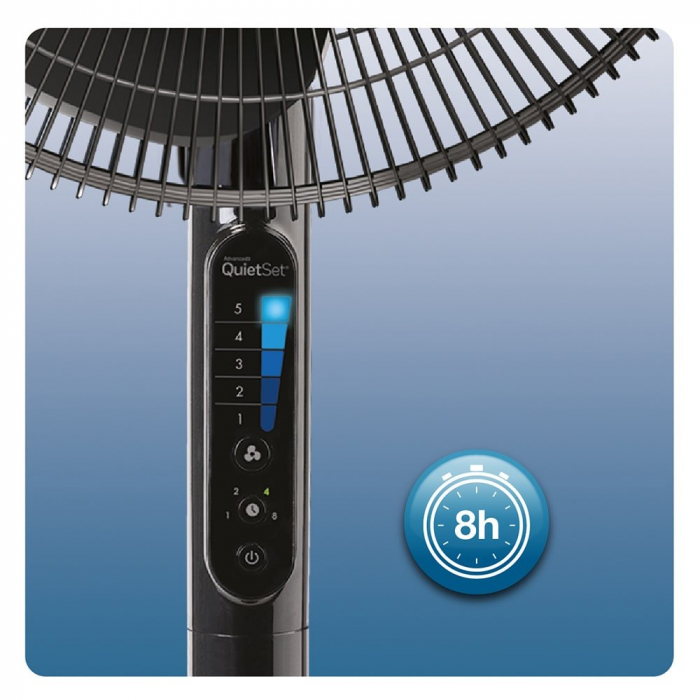 Ventilator cu picior Honeywell Quiet Set HSF600BE4, 5 viteze, timer, zgomot redus, Negru 2