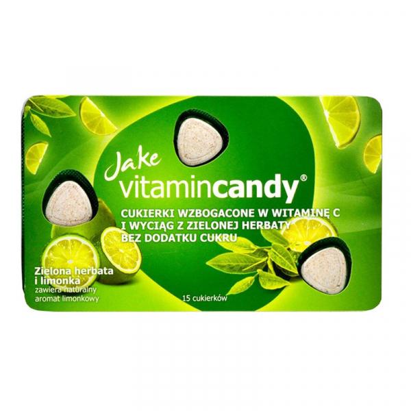 Drajeuri fara zahar VitaminCandy cu Vitamina C, extract de ceai verde si gust de lime, 18 g 0