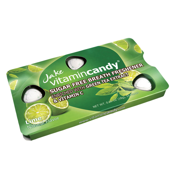 Drajeuri fara zahar VitaminCandy cu Vitamina C, extract de ceai verde si gust de lime, 18 g 1