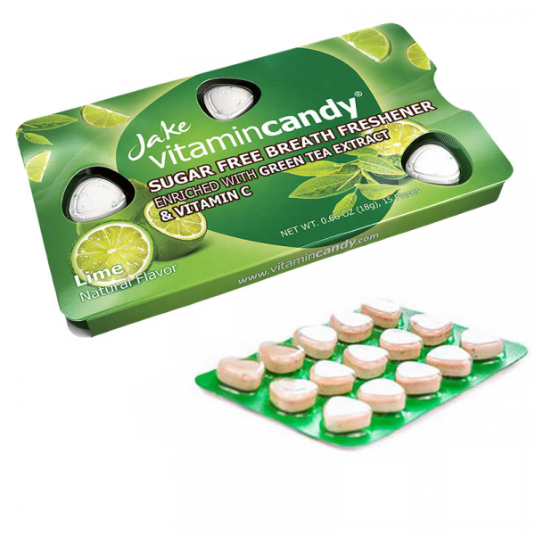 Drajeuri fara zahar VitaminCandy cu Vitamina C, extract de ceai verde si gust de lime, 18 g 2