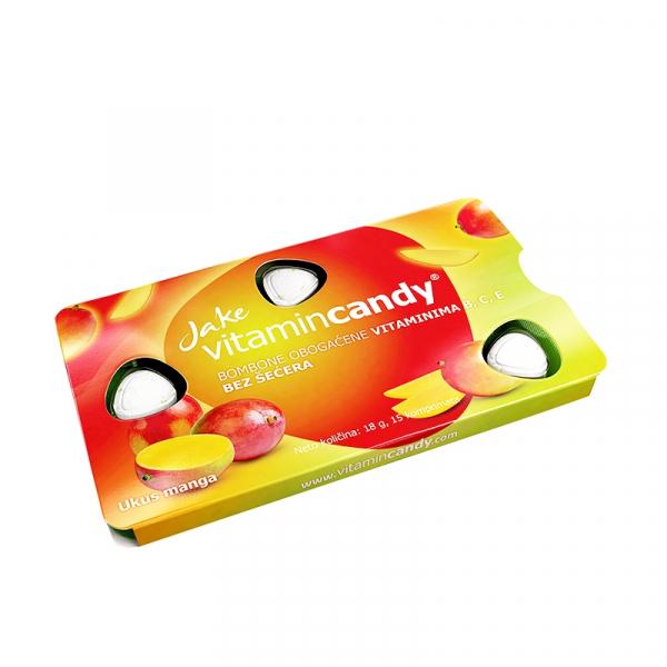 Drajeuri fara zahar VitaminCandy multivitamine cu gust de mango, 18 g 2