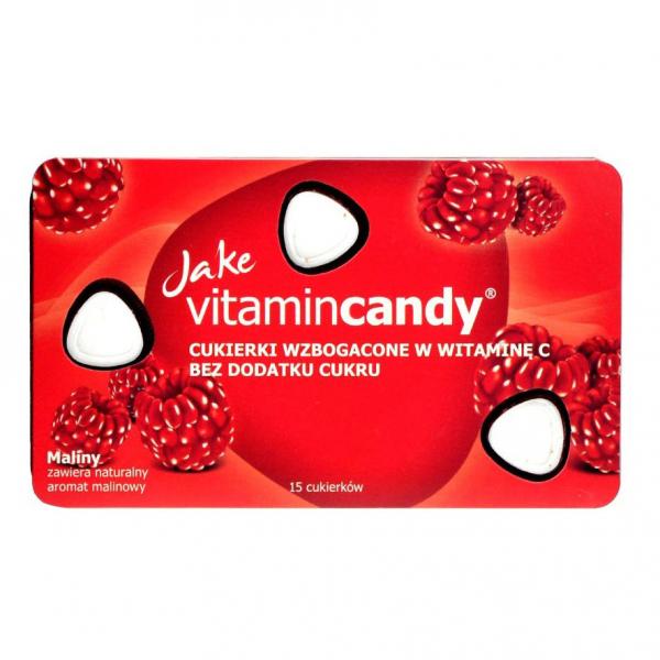 Drajeuri fara zahar VitaminCandy cu Vitamina C si gust de zmeura, 18 g 0