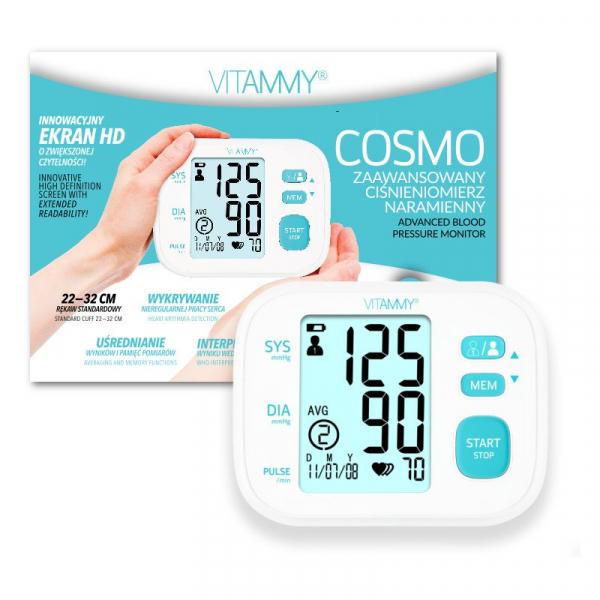 Tensiometru electronic de brat VITAMMY Cosmo, detectare aritmie, memorare 2 utilizatori, manseta 22-32 cm, Alb [0]