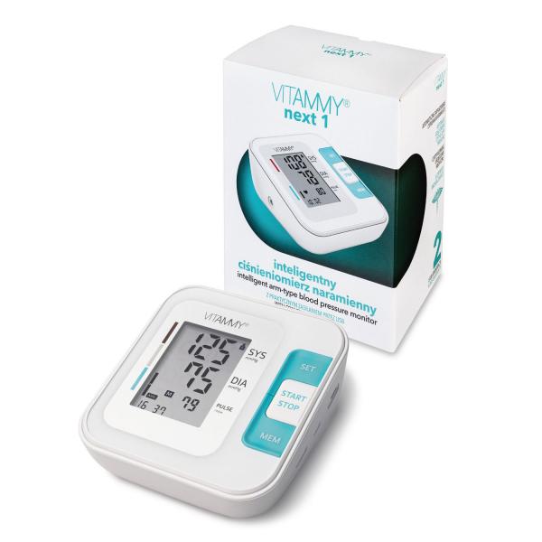Tensiometru electronic de brat VITAMMY Next 1, mufa USB, detectie miscarea corpului, memorare 2 utilizatori, manseta 22-40 cm, Alb 0
