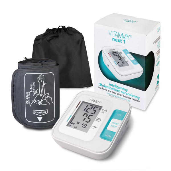 Tensiometru electronic de brat VITAMMY Next 1, mufa USB, detectie miscarea corpului, memorare 2 utilizatori, manseta 22-40 cm, Alb 2