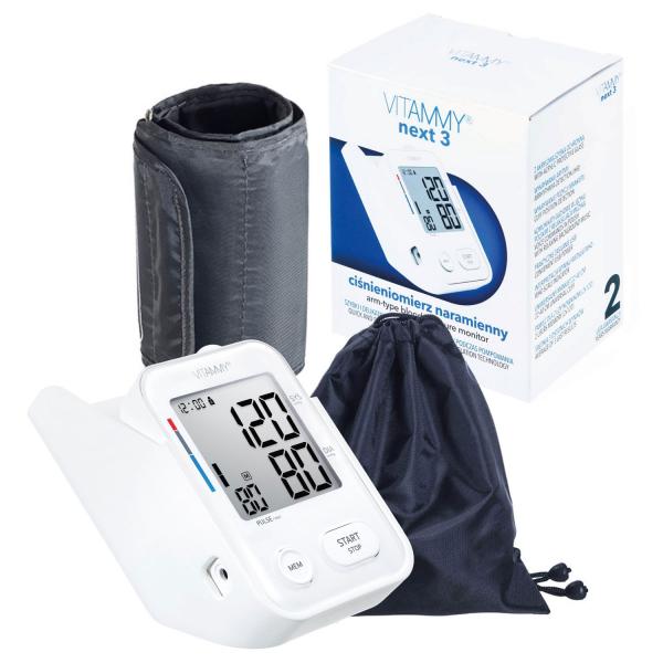 Tensiometru electronic de brat VITAMMY Next 3, mufa USB, detectie miscarea corpului, memorare 2 utilizatori, manseta 22-40 cm, Alb 1