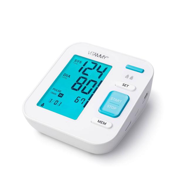 Tensiometru electronic de brat VITAMMY Next 5, mufa USB, detectare aritmie, detectie miscarea corpului, manseta 22-40 cm, Alb 1