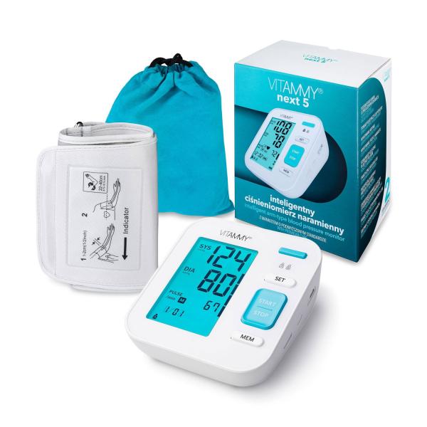 Tensiometru electronic de brat VITAMMY Next 5, mufa USB, detectare aritmie, detectie miscarea corpului, manseta 22-40 cm, Alb 3