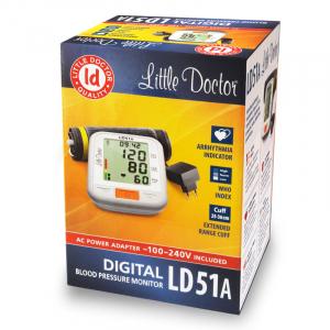 Tensiometru electronic de brat Little Doctor LD 51a, afisaj XXL, detector aritmie, indicator WHO, afisare data si ora, adaptor priza inclus, Alb/Gri3