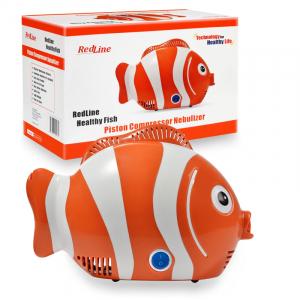 Aparat de aerosoli RedLine Healthy Fish Pro, MMAD 2.44 si 4 µm, forma jucausa apreciata de copii, furtun de 6m, 2 kit-uri de nebulizare2