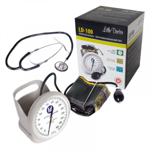Tensiometru mecanic Little Doctor LD 100, stetoscop inclus, Suport de birou, Spatiu de depozitare manseta, Diametru manometru 11 cm, Alb1