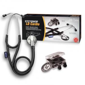 Stetoscop Little Doctor LD Cardio, profesional, 3 seturi de olive auriculare, o diafragma de schimb, placuta de identificare, Negru/inox1