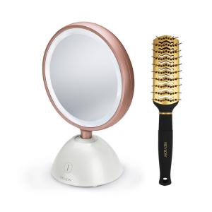 Set oglinda cosmetica iluminata REVLON Utimate Glow Beauty RVMR9029 si perie de par0